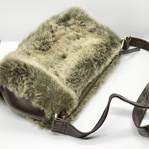 Banana Republic Ladies Grey Faux Fur Purse